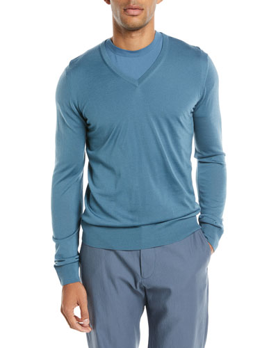 Lightweight V-Neck Wool Pullover Sweater, Light Blue
