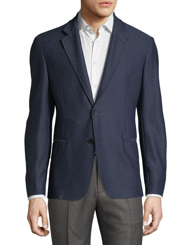 Waffled Herringbone Two-Button Blazer