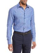 Linen Melangé Sport Shirt, Blue/Gray
