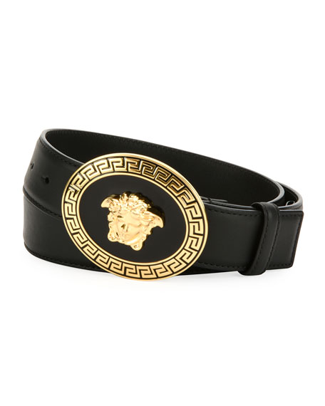 Versace Men's Medusa Greca Key Leather Belt