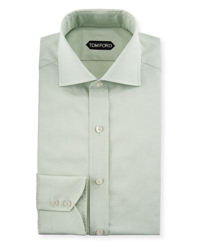 Slim-Fit Solid-Color Poplin Barrel-Cuff Dress Shirt