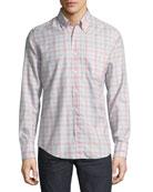 Plaid Button-Front Shirt, Light Pink/Gray
