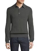 Long-Sleeve Knit Polo Shirt