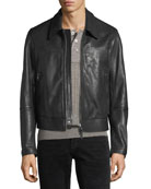 Worked Leather Zip-Front Jacket