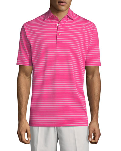 Halifax Striped Stretch Jersey Polo Shirt, Pink