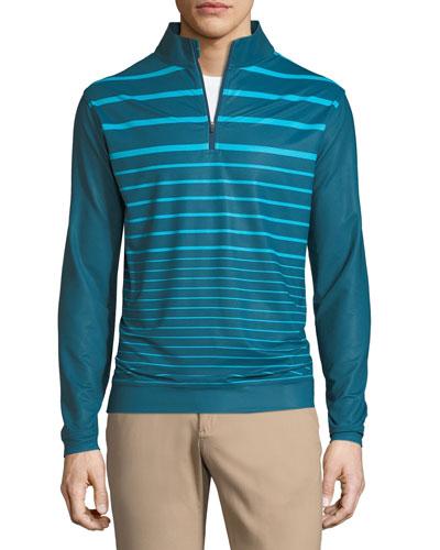 Perth Engineered Striped Quarter-Zip Sweater, Dark Blue