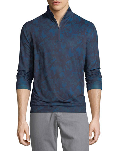 Perth Stretch Camouflage Quarter-Zip Sweater, Slate