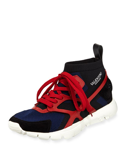 VALENTINO Men'S Sock-Knit Lace-Up Caged Sneakers in Blue