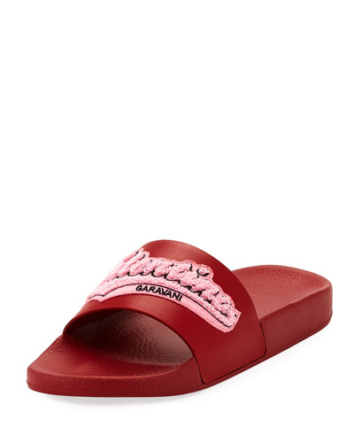 Embroidered Logo Vinyl Pool Slide Sandal