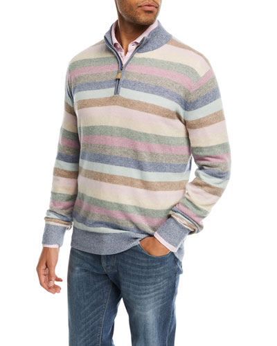 Coach Striped Quarter-Zip Cashmere Sweater, Blue