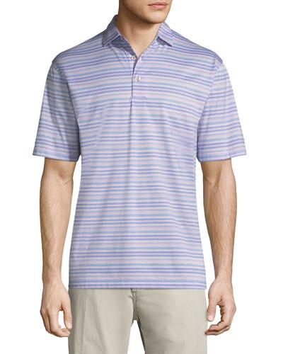 Hanover Stripe Cotton Polo Shirt, Purple