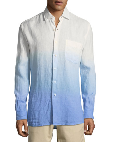 Seaside Dip Dye Shoreline Shirt, Medium Blue