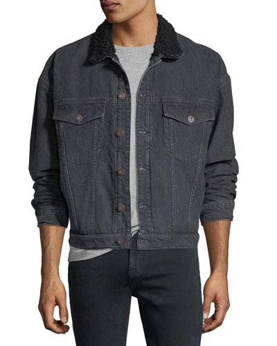 Shearling-Trim Denim Trucker Jacket