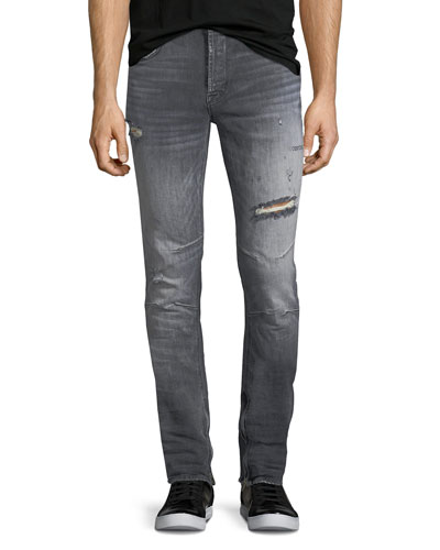 Vaughn Skinny Ankle-Zip Distressed Jeans