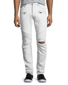 Men's Blinder Biker Distressed Skinny Jeans, Extracted (White)
