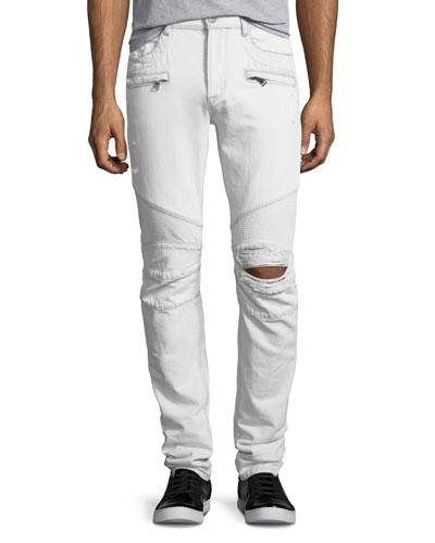 Blinder Biker Distressed Skinny Jeans, Extracted (White)