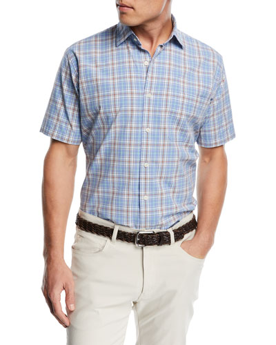 Rockport Plaid Short-Sleeve Shirt, Medium Blue