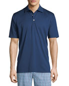Solid Nanoluxe Cotton Polo Shirt, Dark Blue
