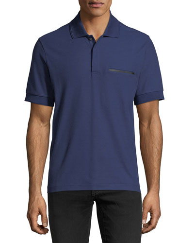 Leather-Trim Polo Shirt
