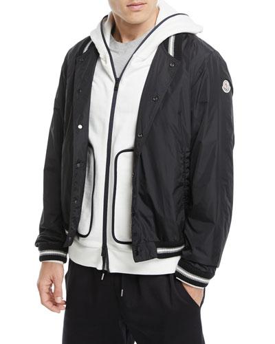 Nylon-Knit Bomber Jacket