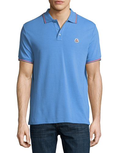 Classic Pique Patch Polo Shirt, Cornflower Blue