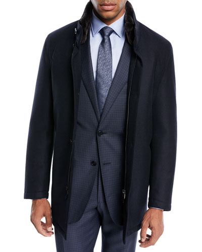 Shearling-Lined Wool Car Coat, Blue