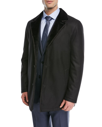 Rabbit-Lined Wool Car Coat