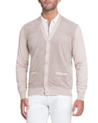 Perforated Suede-Panel Cardigan