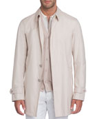 Button-Front Silk Trench Coat