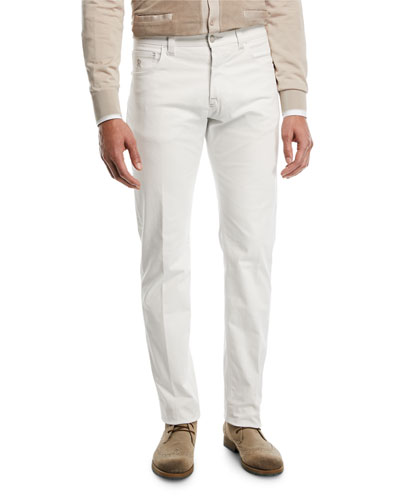 Tonal-Embroidered Denim Jeans
