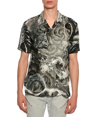 Tiger & Dragon Print Sport Shirt