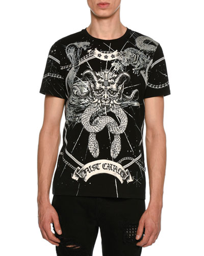 JUST CAVALLI Universe Printed Cotton Jersey T-Shirt in Black