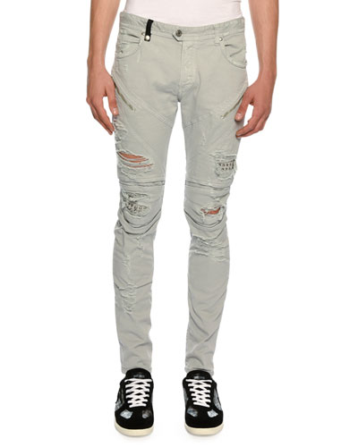 Distressed Motorcycle Jeans