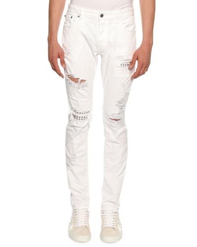 Slim Distressed-Denim Biker Jeans