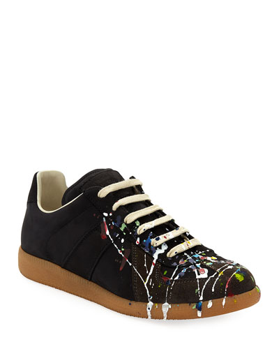 Men's Splatter-Print Painter Low-Top Sneakers, Black Pattern