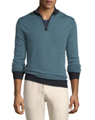 Tricolor Birdseye Quarter-Zip Sweater, Dark Blue
