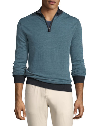 Tricolor Birdseye Quarter-Zip Sweater, Dark Blue