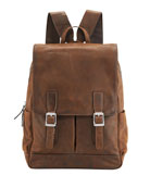 Oliver Distressed Leather Buckle Backpack, Brown