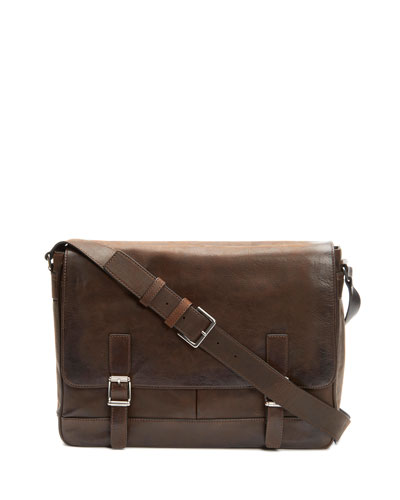 Oliver Men's Leather Messenger Bag, Brown