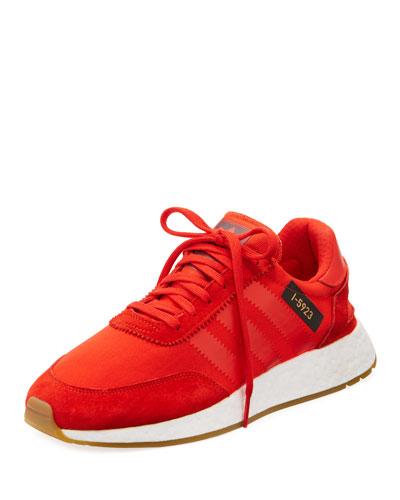 Suede-Trim Neoprene Sneaker, Red