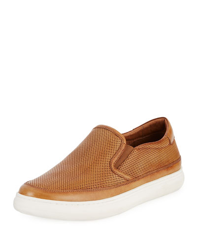 Corbyn Men's Perforated Leather Slip-On Sneaker