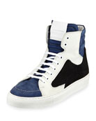 Artel Leather High-Top Sneaker, Black/Blue