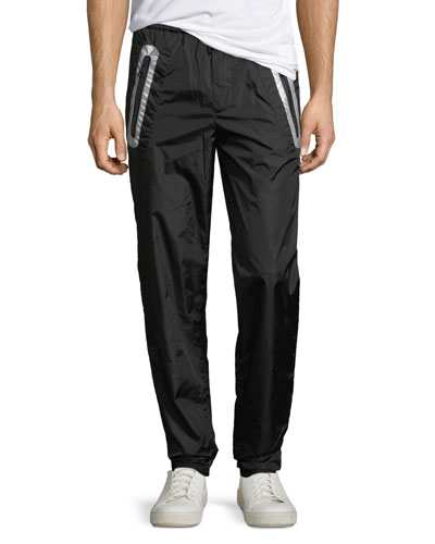 Contrast-Trim Nylon Pants