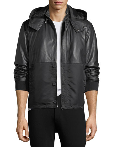 Hybrid Leather Jacket w/ Hood