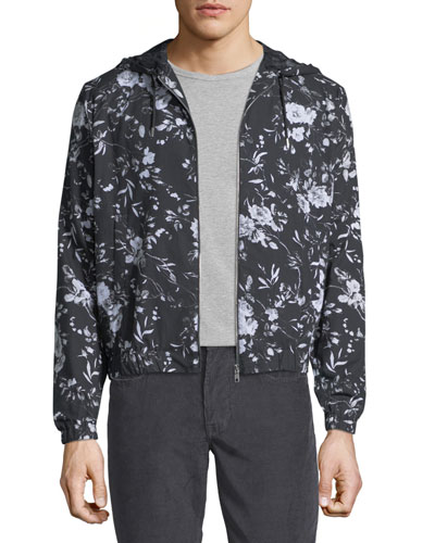 Floral-Print Hooded Zip-Front Jacket