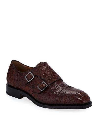 Tramezza Crocodile Double-Monk Shoe