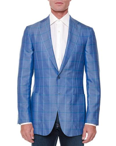 Cashmere-Silk Windowpane Jacket, Blue/Green