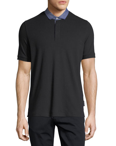 Pique Polo Shirt w/ Contrast Collar