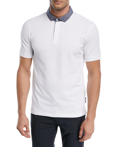 Contrast-Collar Piqué Polo Shirt