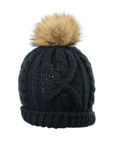 Hand-Knit Toque Hat w/ Fur Pompom